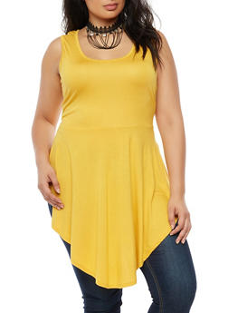 Plus Size Asymmetrical Tunic Top with Fringe Choker - 3910038342424