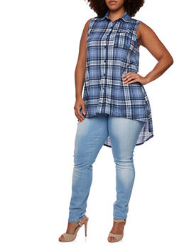 Plus Size Plaid Top with High-Low Hem - 3910051064985