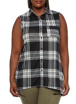 Plus Size Plaid Shirt with High-Low Hem - 3910051064986