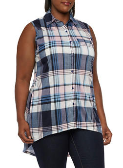Plus Size Plaid High-Low Tunic with Pocket - 3910051064987