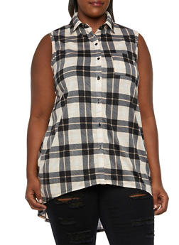Plus Size Plaid Tunic Top with High-Low Hem - 3910051064990