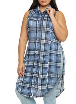 Plus Size Plaid Tunic Top with Round Hem - 3910051064992