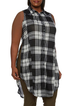 Plus Size Plaid Tunic Top with Side Slits - 3910051064993