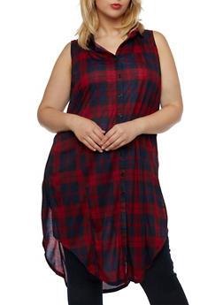 Plus Size Plaid Tunic Top with Split Sides - 3910051064995