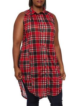 Plus Size Plaid Tunic Top with Split Sides - 3910051064996