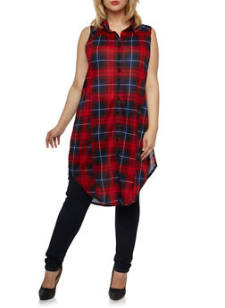 Plus Size Sleeveless Split Sides Tunic with Plaid Print - 3910051064997