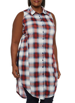 Plus Size Faded Plaid Split Side Tunic Top with Button-Down Front - 3910051064998