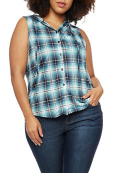 Plus Size Sleeveless Hooded Plaid Top - 3910051066506