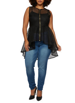 Plus Size Perforated Peplum Top with Zipper - 3910058930103
