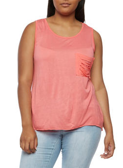 Plus Size Laser Cut Sleeveless Top - 3910058930245