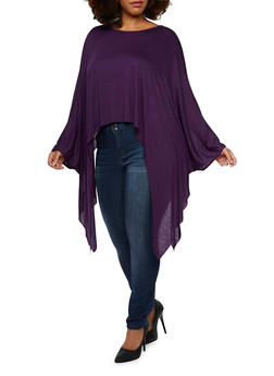 Plus Size Jersey Poncho Top with Scoop Neck - 3910058930814