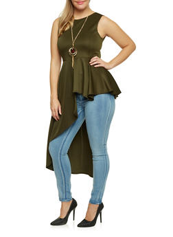 Plus Size Jeweled Peplum Top with Cascading Panel - OLIVE - 3910058930824