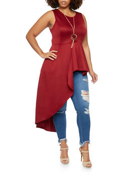 Plus Size Jeweled Peplum Top with Cascading Panel - 3910058930824
