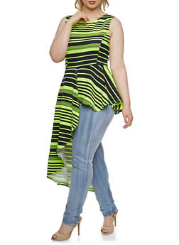 Plus Size Striped Top with Asymmetrical Hem - 3910058931050