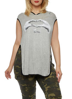 Plus Size Sleeveless Hooded Top with Heart Hands Graphic - 3910058931101