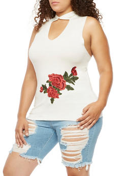 Plus Size Sleeveless Hooded Top with Rose Applique - 3910058931813