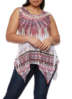 Plus Size Feather Print Sharkbite Top - 3910058935533