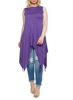 Plus Size Tunic Top with Asymmetrical Hem - 3910058937094