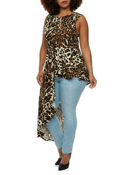 Plus Size Top with Asymmetrical Cascading Peplum Paneling - 3910058938102