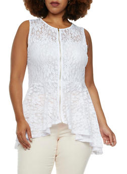Plus Size Peplum Top in Delicate Lace - 3910058939072