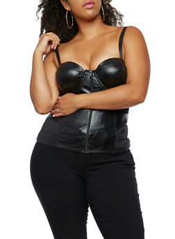 Plus Size Perforated Faux Leather Bustier - 3910062904105