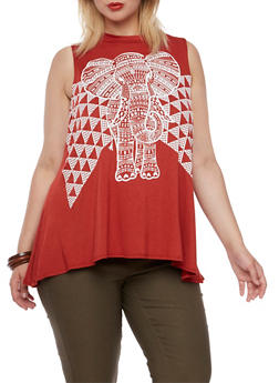 Plus Size Top with Tribal Elephant Graphic - 3910072245002