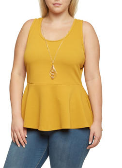 Plus Size Sleeveless Peplum Top with Removable Necklace - MUSTARD - 3910072249942
