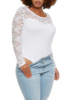Plus Size Bodysuit with Crochet Paneling - 3911054260214