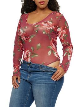 Plus Size Floral Mesh Bodysuit - 3911058750041