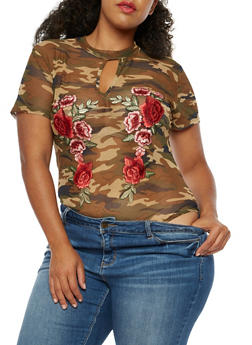 Plus Size Short Sleeve Camo Bodysuit with Floral Applique - 3911058752022