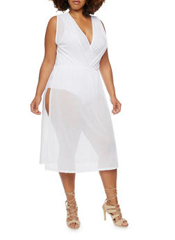 Plus Size Sleeveless Mesh Duster Top with Bodysuit - WHITE - 3911058931018