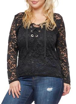 Plus Size Long Sleeve Lace Top - 3911058931254