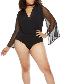 Plus Size Faux Wrap Bodysuit - 3911058932713