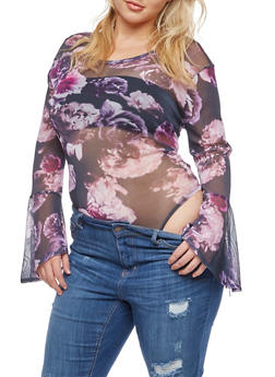 Plus Size Floral Bell Sleeve Mesh Bodysuit - 3911058933013