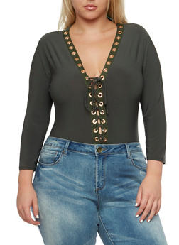 Plus Size Bodysuit with Lace-Up V-Neck - 3911062705460