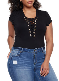 Plus Size Solid Lace Up Bodysuit - 3911062706436