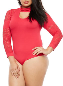 Plus Size Perforated Choker Neck Bodysuit - 3911062901580