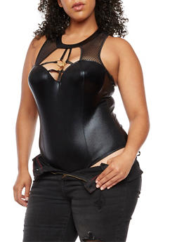 Plus Size Metal Rings Caged Bodysuit - 3911062902301
