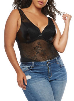 Plus Size Mesh Bodysuit - 3911062906701