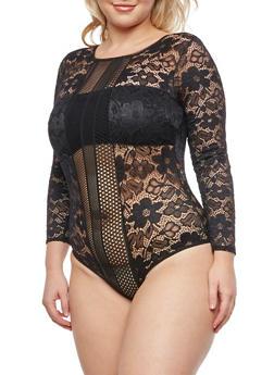 Plus Size Long Sleeve Lace Bodysuit - 3911062908307