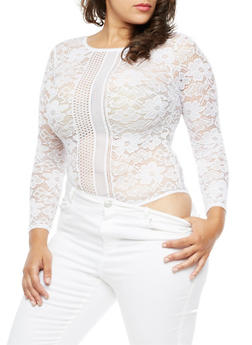Plus Size Long Sleeve Lace Bodysuit - WHITE - 3911062908307