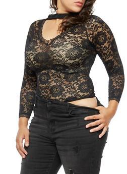 Plus Size Lace Bodysuit - 3911062908667