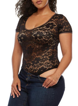 Plus Size Floral Lace Bodysuit - 3911062909701