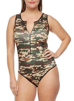 Plus Size Sleeveless Camo Bodysuit with Zipper - 3911062909976