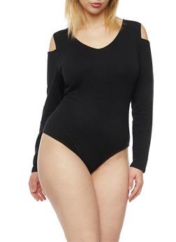 Plus Size Cold Shoulder Bodysuit - BLACK - 3911073130112