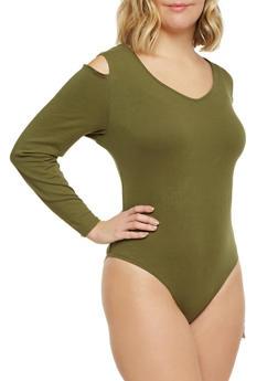 Plus Size Cold Shoulder Bodysuit - OLIVE - 3911073130112