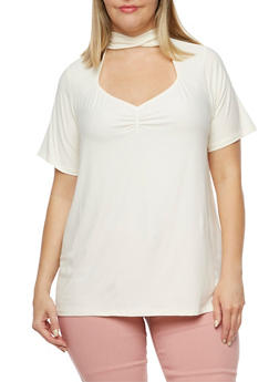 Plus Size Short Sleeve Mock Neck Top - CREME - 3912001443657