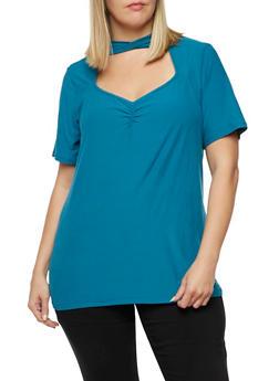 Plus Size Short Sleeve Mock Neck Top - 3912001443657