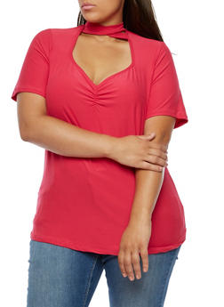 Plus Size Short Sleeve Mock Neck Top - 3912001443657