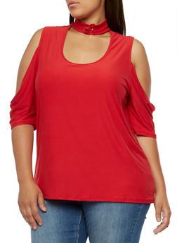 Plus Size Lace Up Chocker Neck Cold Shoulder Top - 3912001443658